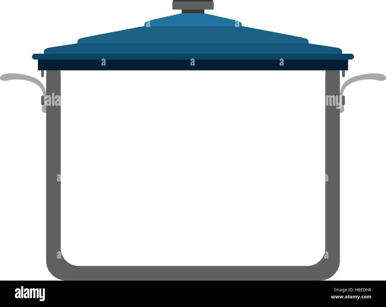 soup pot with blue cap kitchen utensils design over white stock stock vector soup pot with blue cap kitchen utensils design over white background vector illustration