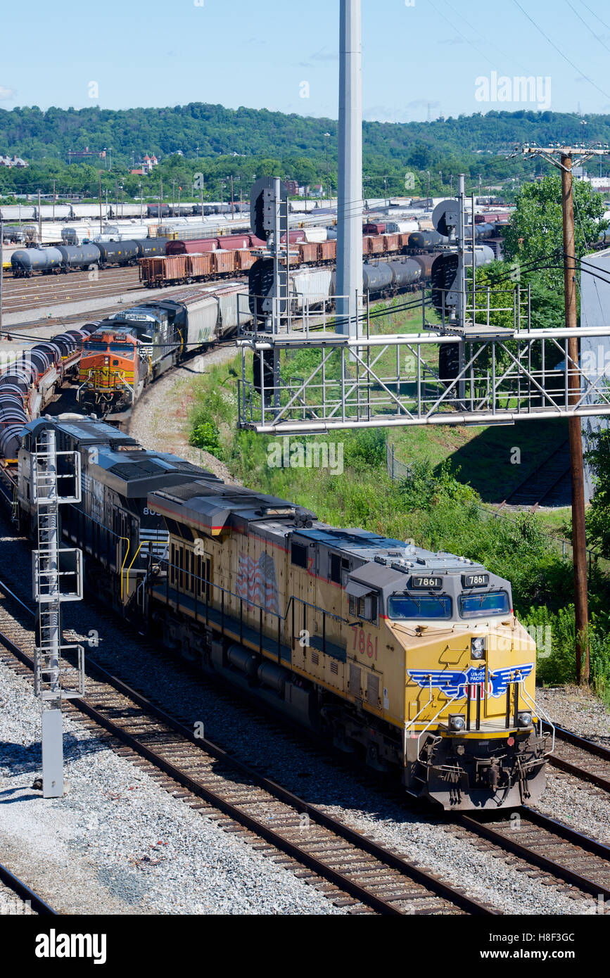 Northern pacific railroad stock photos northern pacific railroad csx queensgate yard cincinnati ohio usa with union pacific norfolk southern and biocorpaavc