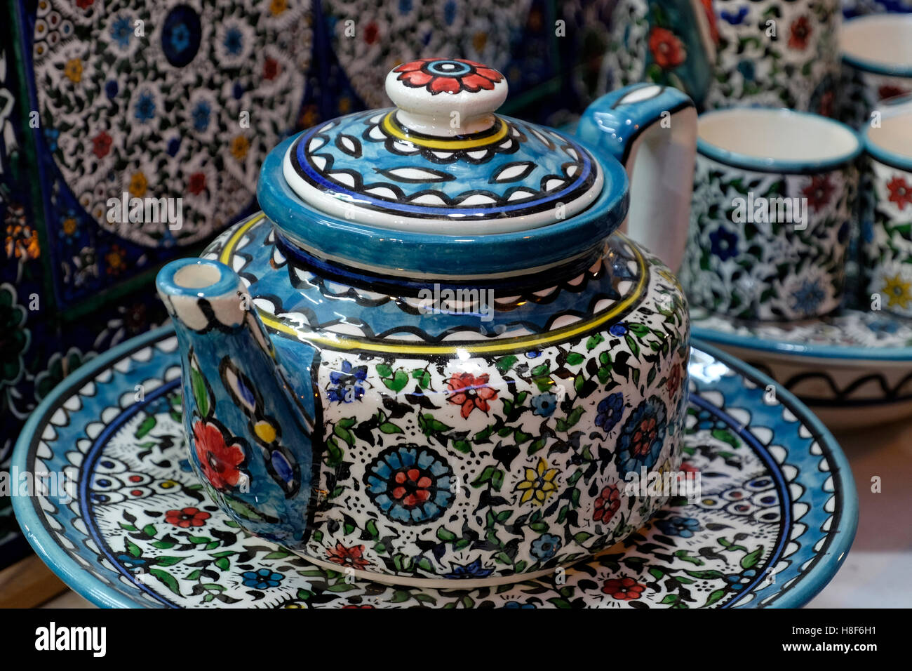 Handpainted ceramic tea pot at an armenian tile workshop east handpainted ceramic tea pot at an armenian tile workshop east jerusalem israel dailygadgetfo Images