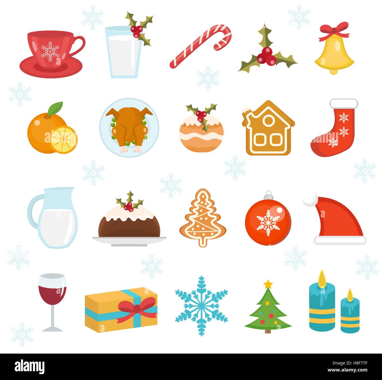 Christmas icons set set of traditional christmas symbols christmas icons set set of traditional christmas symbols christmas design elements holiday dinner food icons vector illustra biocorpaavc