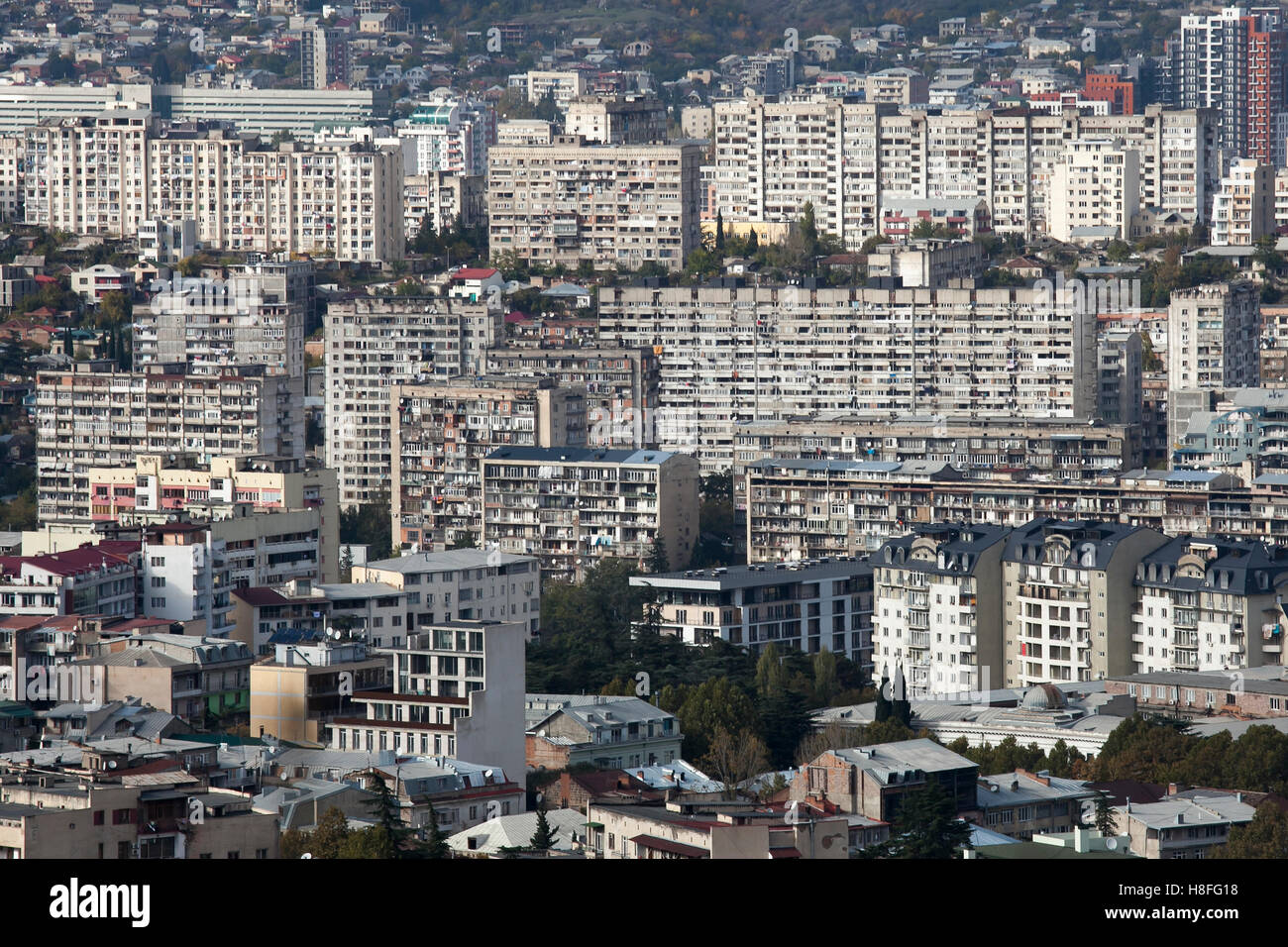 Modern Architecture Ugly tbilisi, georgia - november 04, 2016 : tbilisi city center aerial