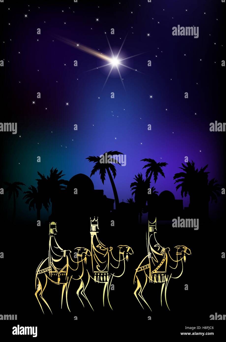 Biblical Christmas vector illustration: three Wise Men are ...