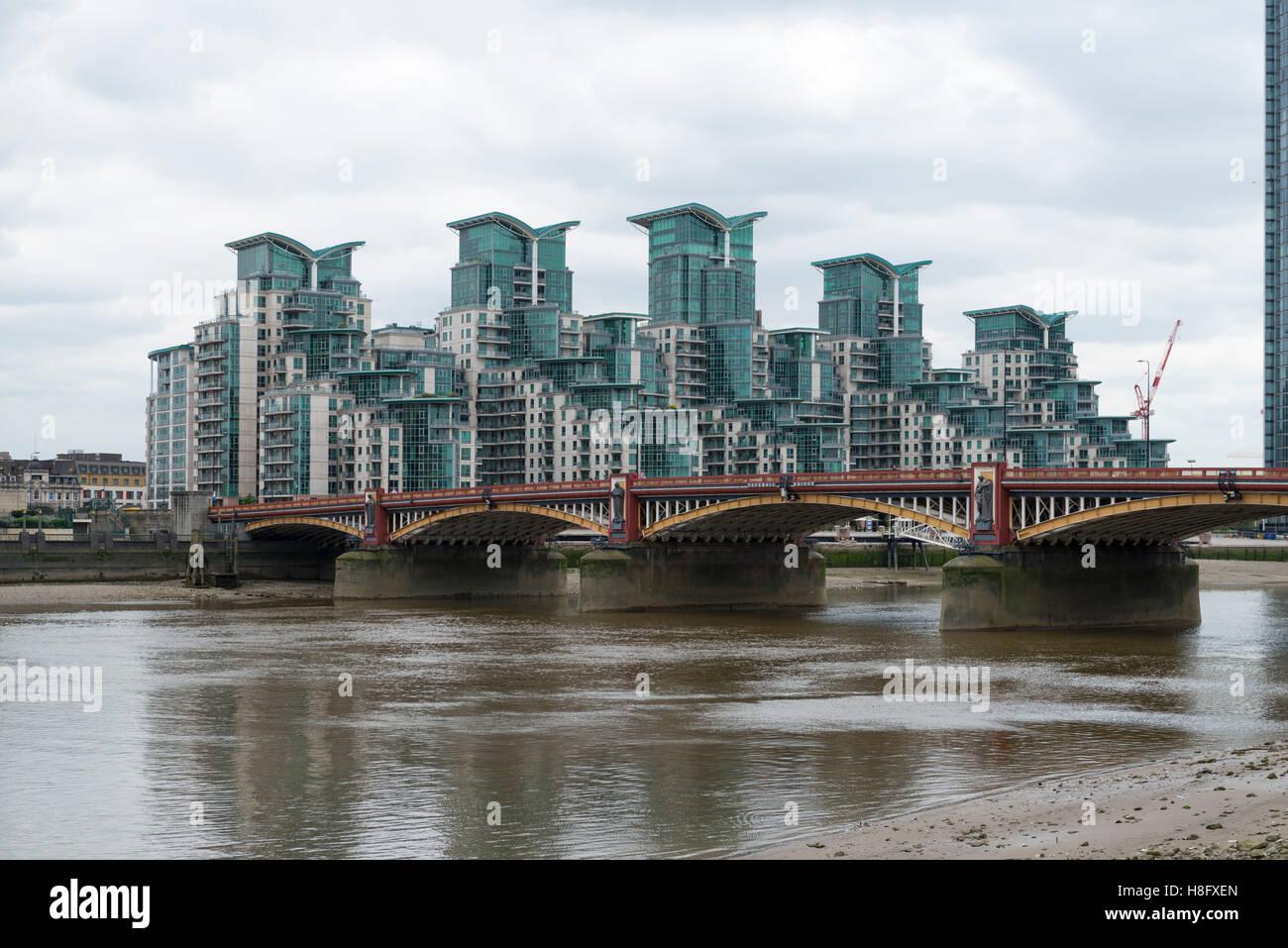 england, london, the thames, vauxhall bridge with postmodern stock