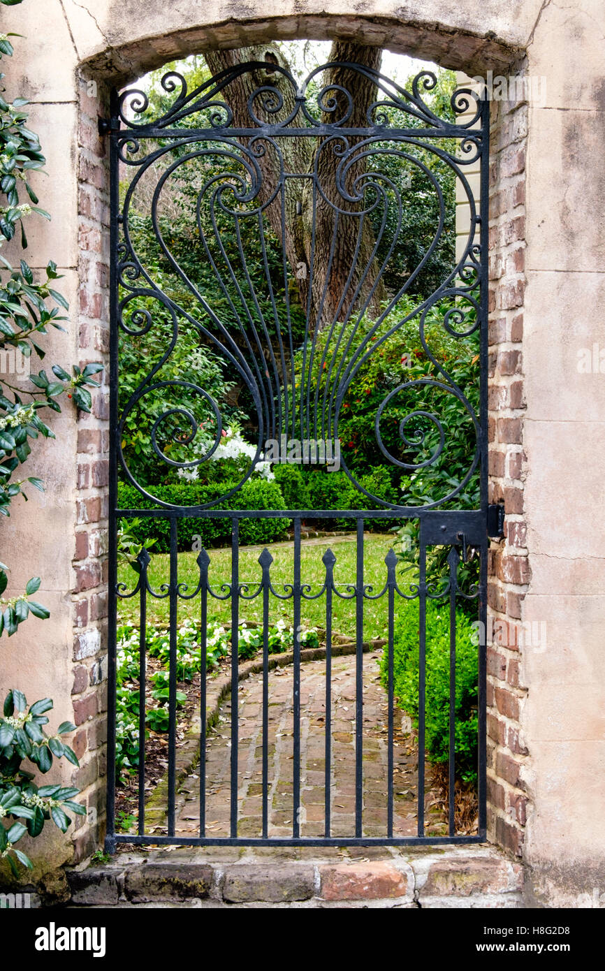 Lovely Stock Photo Wrought Iron Garden Gate In The Charleston Historic  District, South Carolina