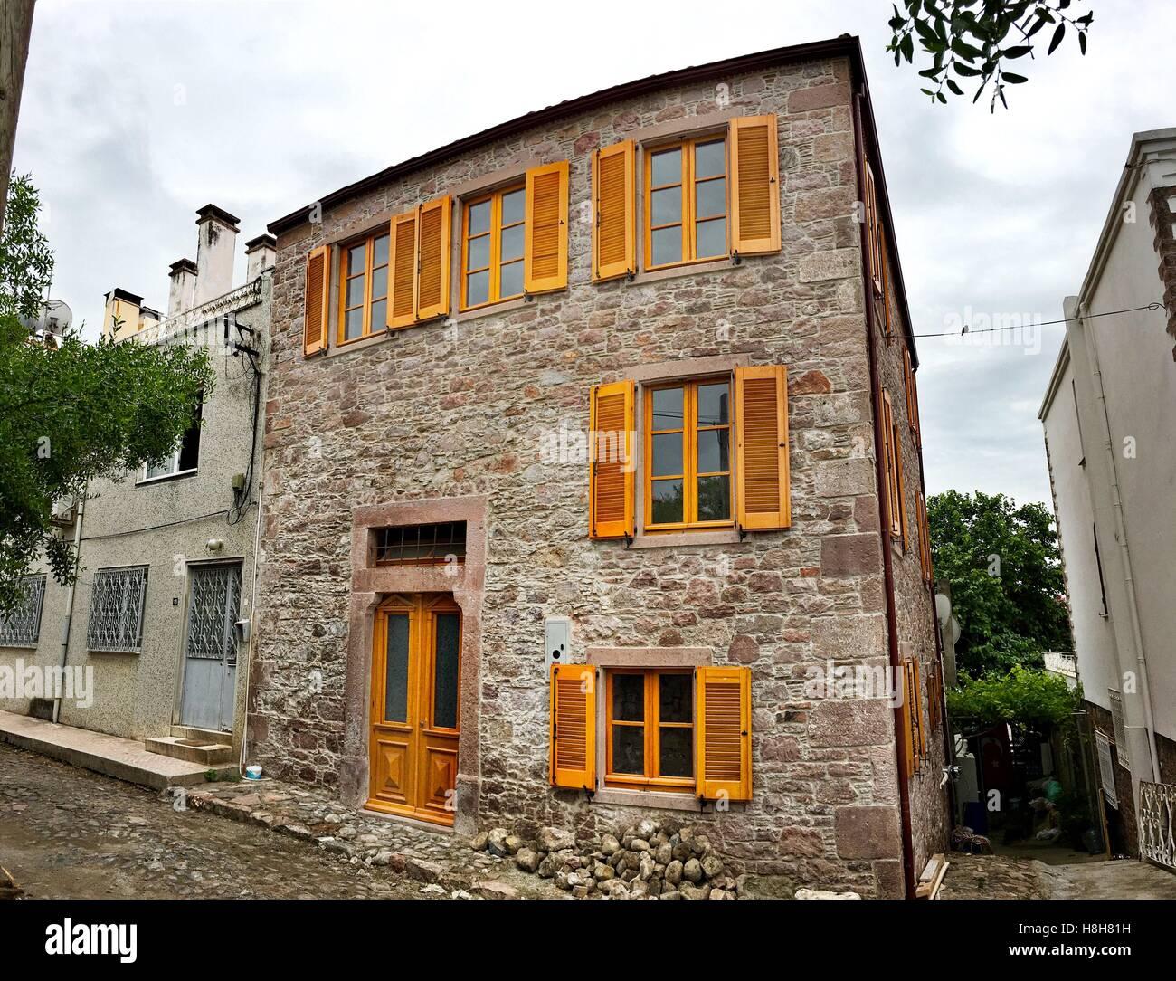 Greek Style House old greek style houses in a narrow street of cunda alibey island