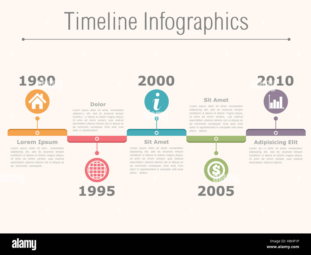 Timeline Infographics Design Template With Dates Icons And Text - Timeline design template