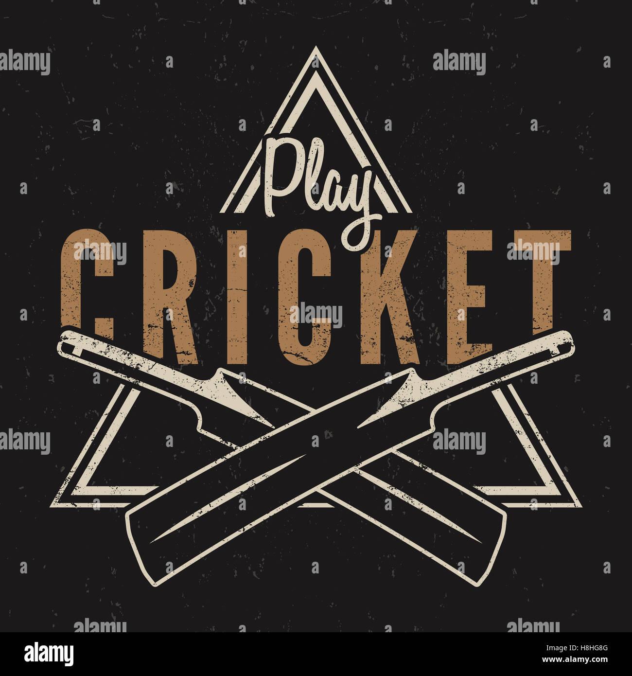Shirt design equipment - Retro Cricket Emblem Design Logo Icon Badge Sports Symbols With Gear Equipment Tee Shirt T Prints Style