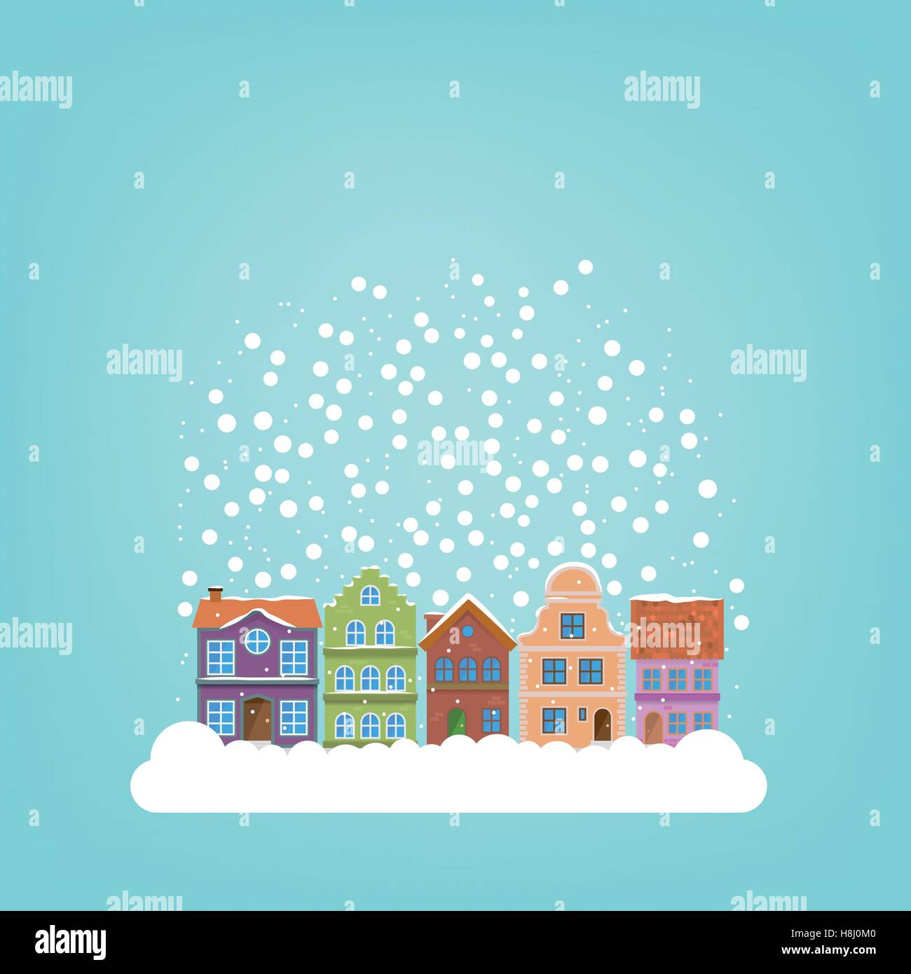 Snow falling on winter village background template for use in snow falling on winter village background template for use in seasonal greetings kristyandbryce Gallery