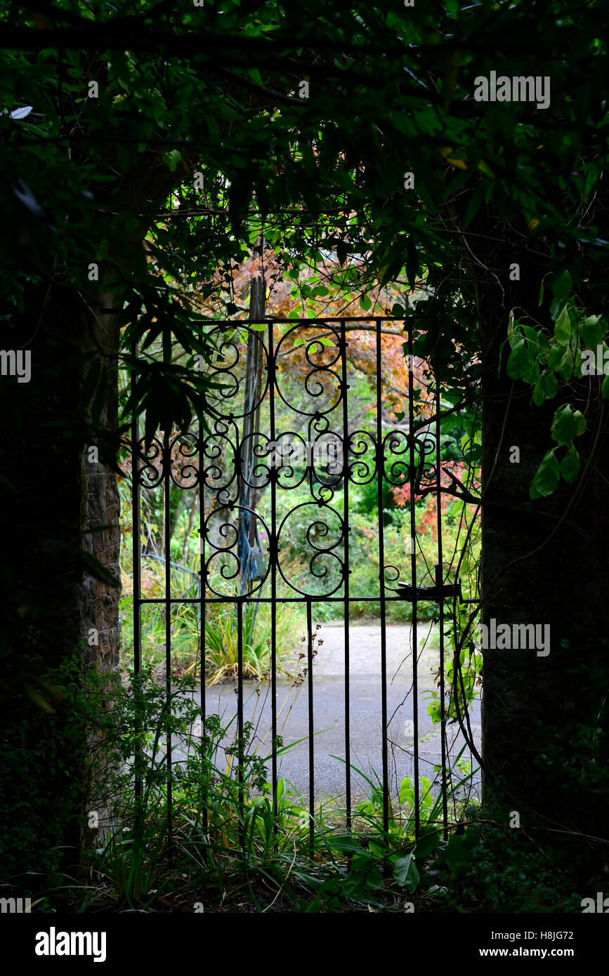 Locked Gate Arch Arched Entrance Mount Usher Gardens Wicklow Glimpse Peek  Garden View RM Floral