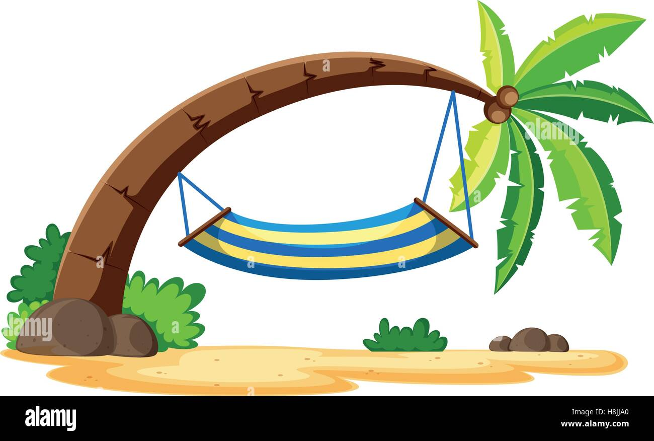 scene with hammock on coconut tree illustration stock vector art