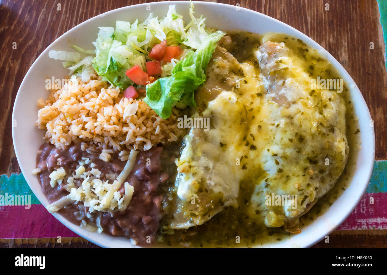 Enchiladas With Rice And Beans Mexican chicken enchil...