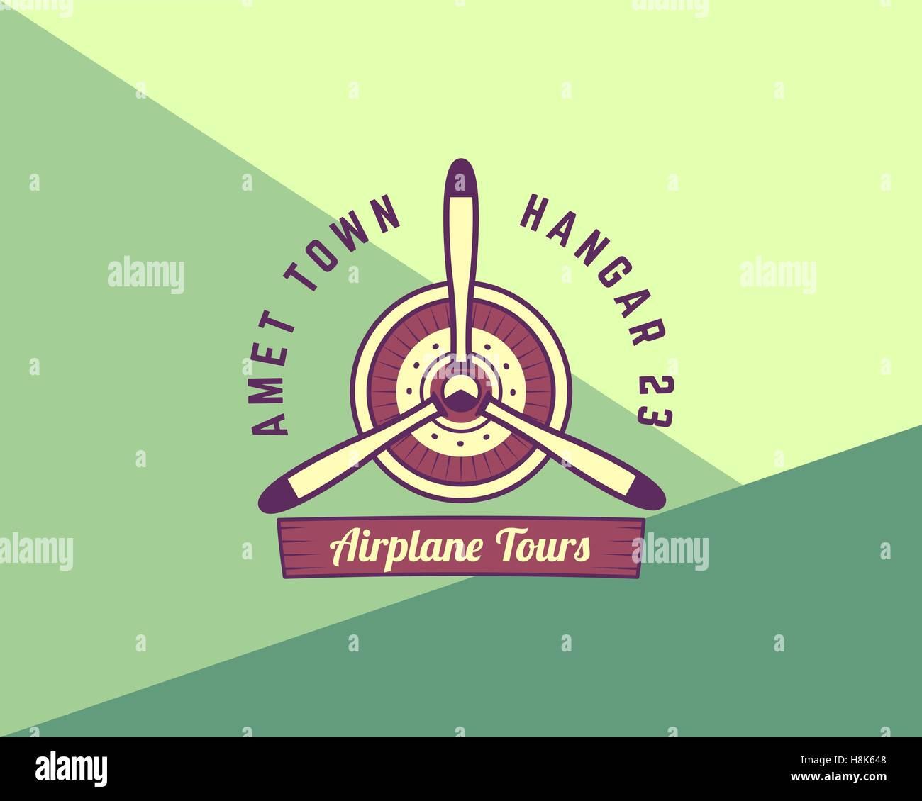 Shirt design elements - Airplane Propeller Emblem Biplane Label Retro Plane Badge Design Elements Vintage Prints For T Shirt Aviation Stamp Air Sh