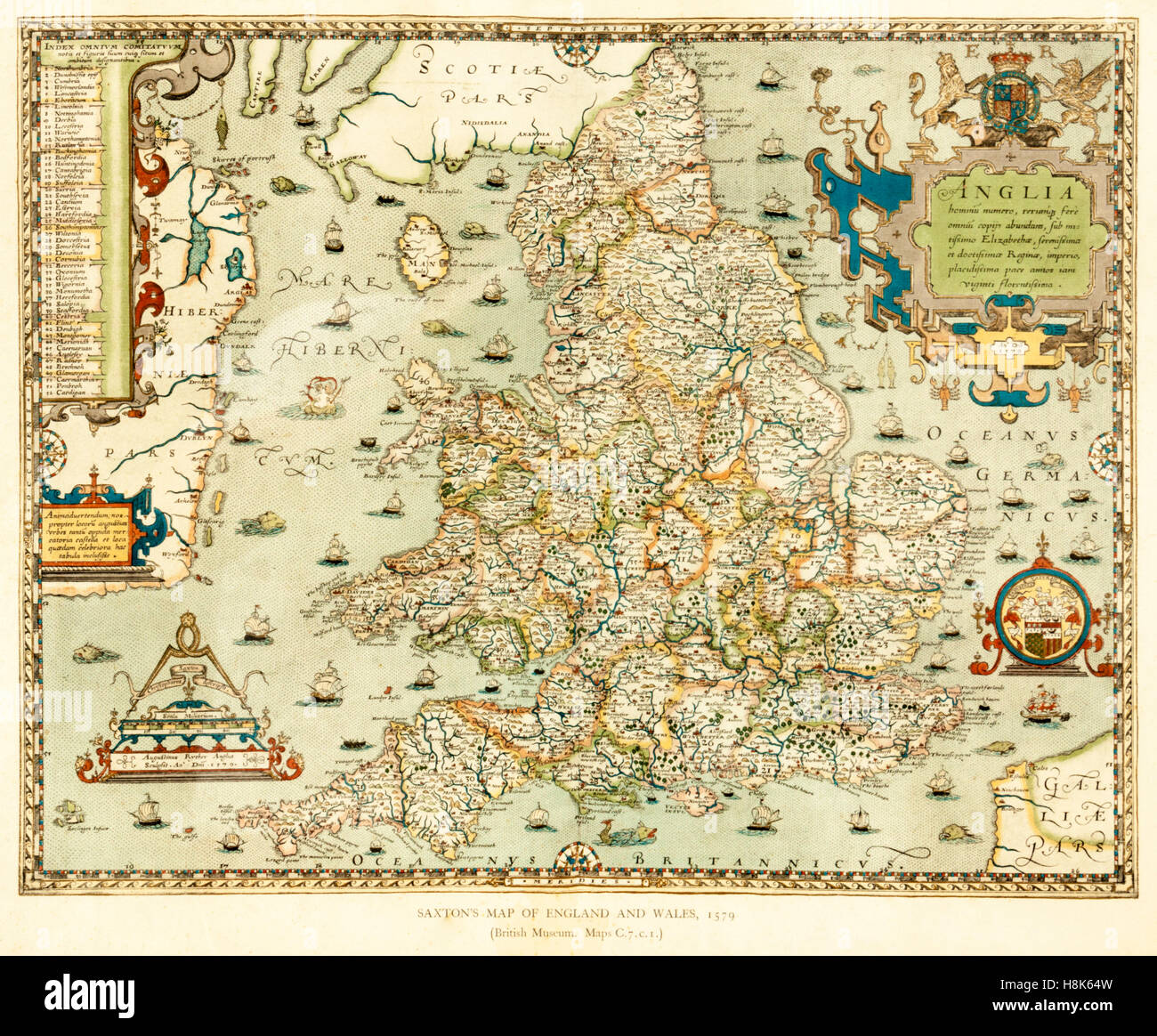 Christopher saxtons map of england and wales 1579 part of christopher saxtons map of england and wales 1579 part of atlas of the counties of england and wales gumiabroncs Image collections