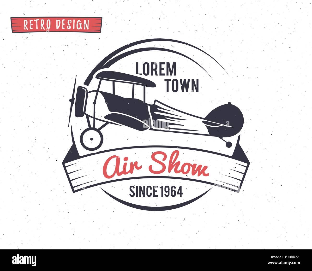 airshow stamp biplane label retro airplane badges design