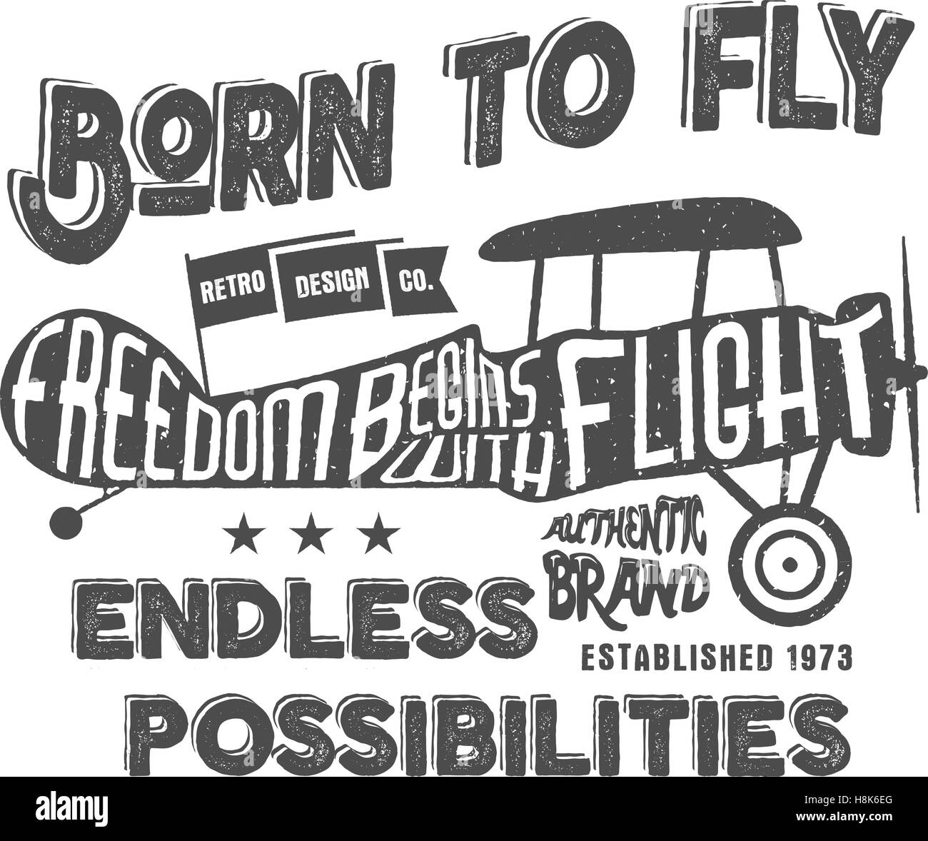 vintage airplane lettering for printing vector prints old