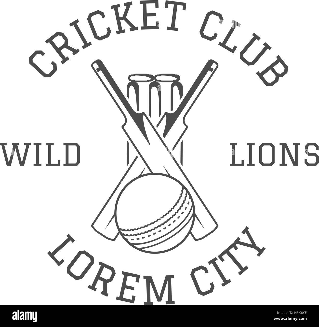 Cricket Club Emblem And Design Elements. Cricket Club Logo