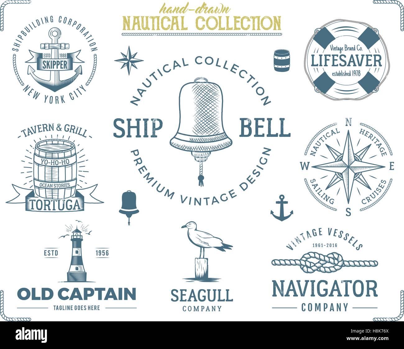 Vintage nautical stamps set old ship retro style sailing labels old ship retro style sailing labels emblems illustration nautical graphic symbols rope wind rose lighthouse vector nautical sketch design buycottarizona