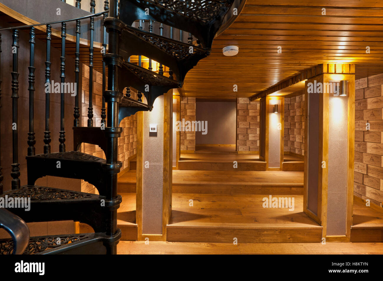Basement Space Of Contemporary Home Wine Box Themed And