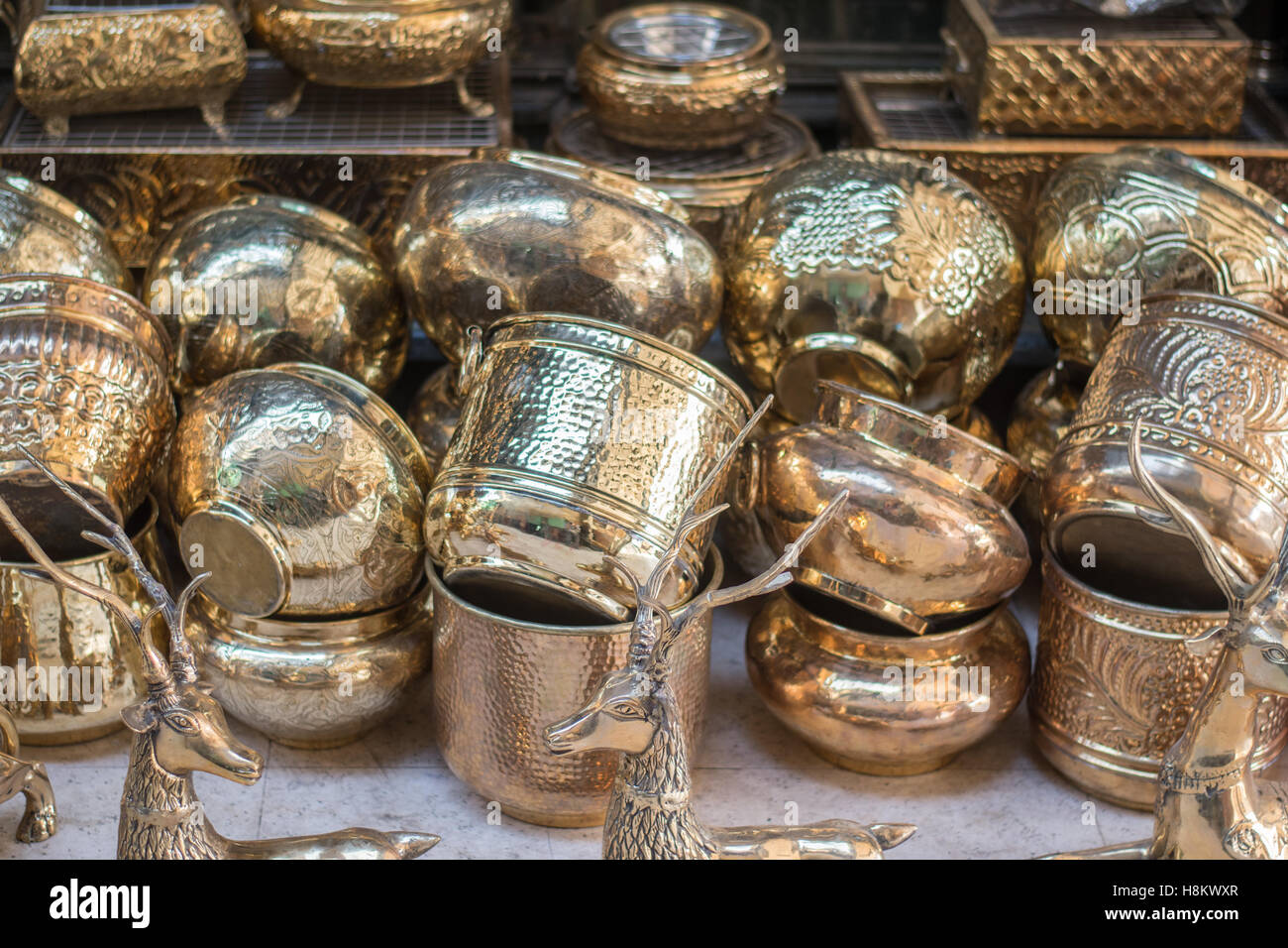 Cairo egypt ornate gold pots and vases for sale in the outdoor ornate gold pots and vases for sale in the outdoor bazaar flea market khan el khalili in cairo reviewsmspy