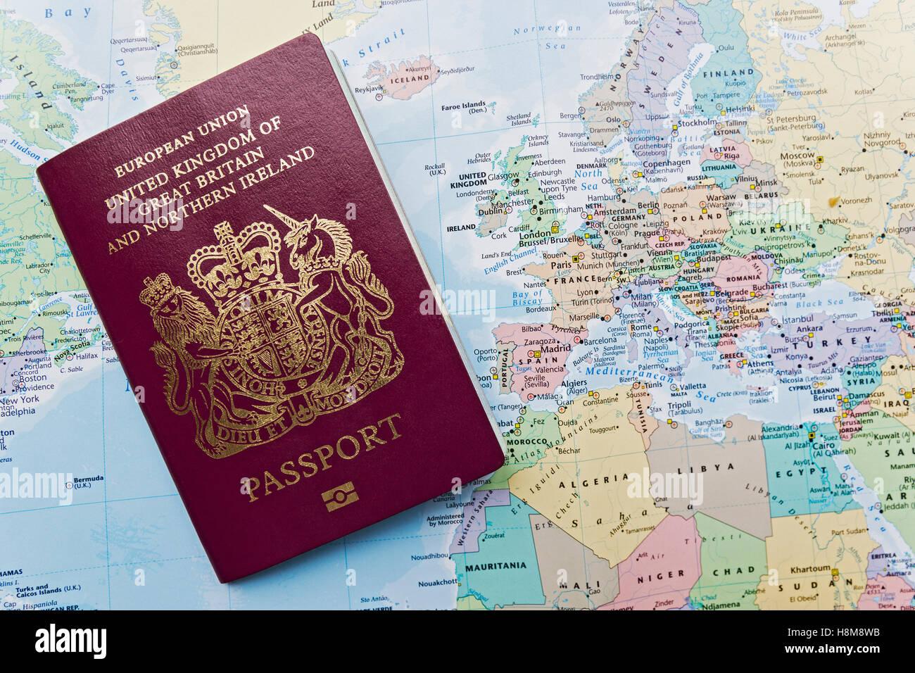 British passport of the european union on a world map with british passport of the european union on a world map with emphasis on europe gumiabroncs Choice Image