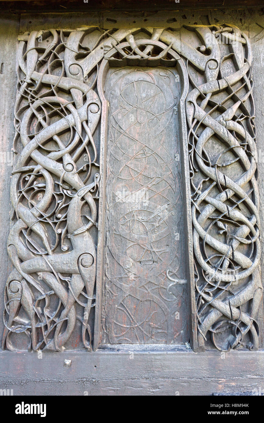 Carvings on door jambs and a wall plank at Urnes Stave ...