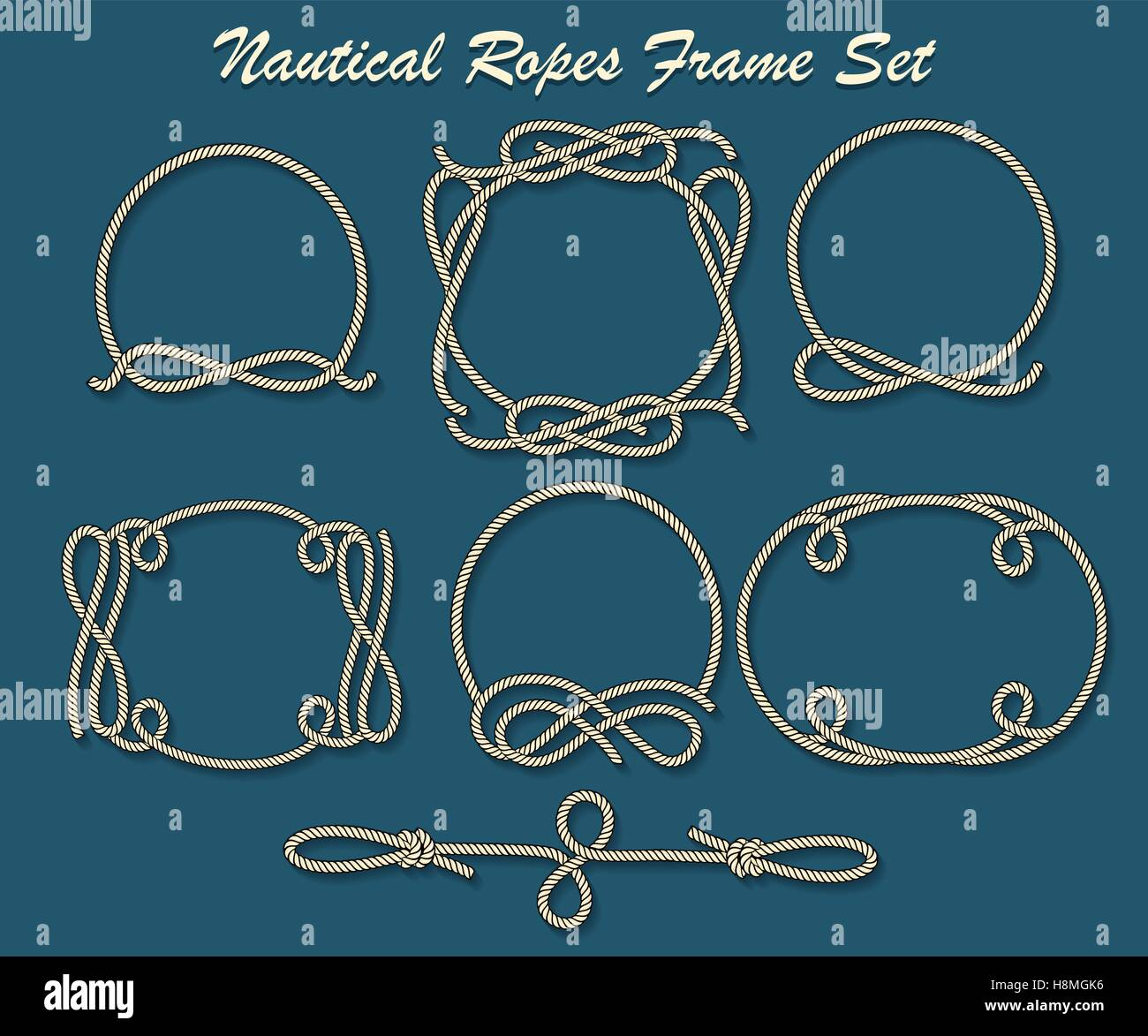 set of rope loop and frames nautical decor elements for your design vector illustration - Nautical Frames
