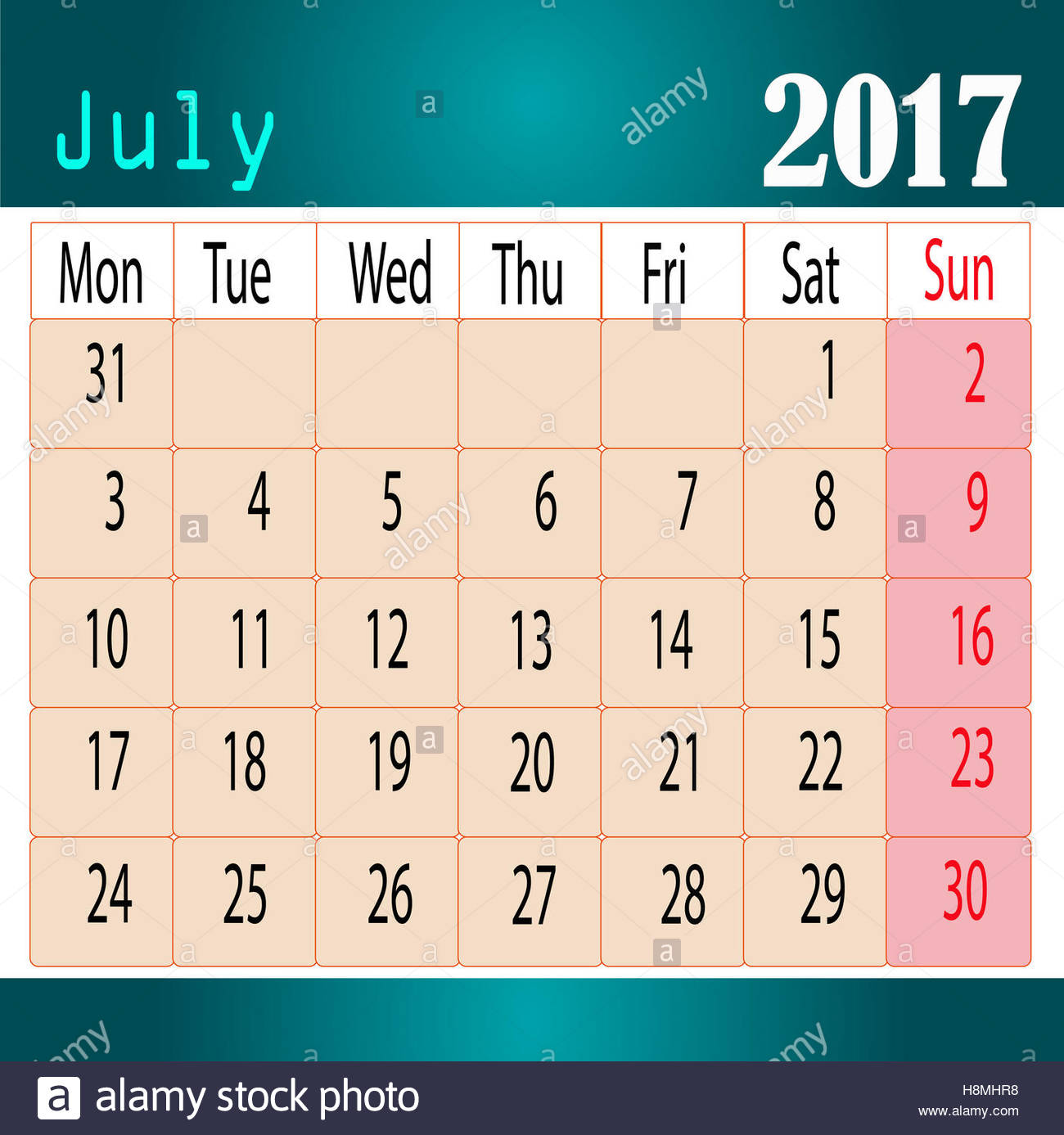 Calendar Design July : Desktop calendar design july stock photo royalty
