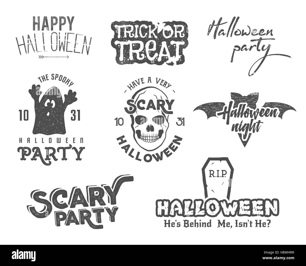 Halloween 2016 party vintage labels, tee designs with scary ...