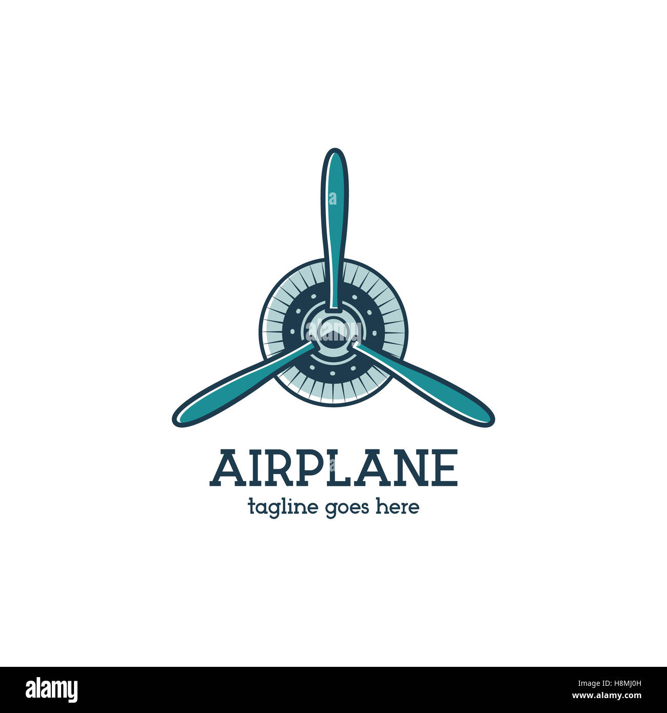 airplane propeller logo template with radial engine retro plane