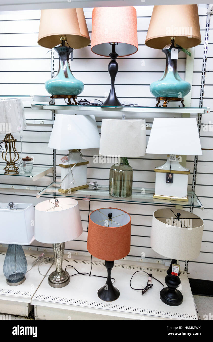 Florida Miami Home Goods store inside lamps sale display. Florida Miami Home Goods store inside lamps sale display Stock