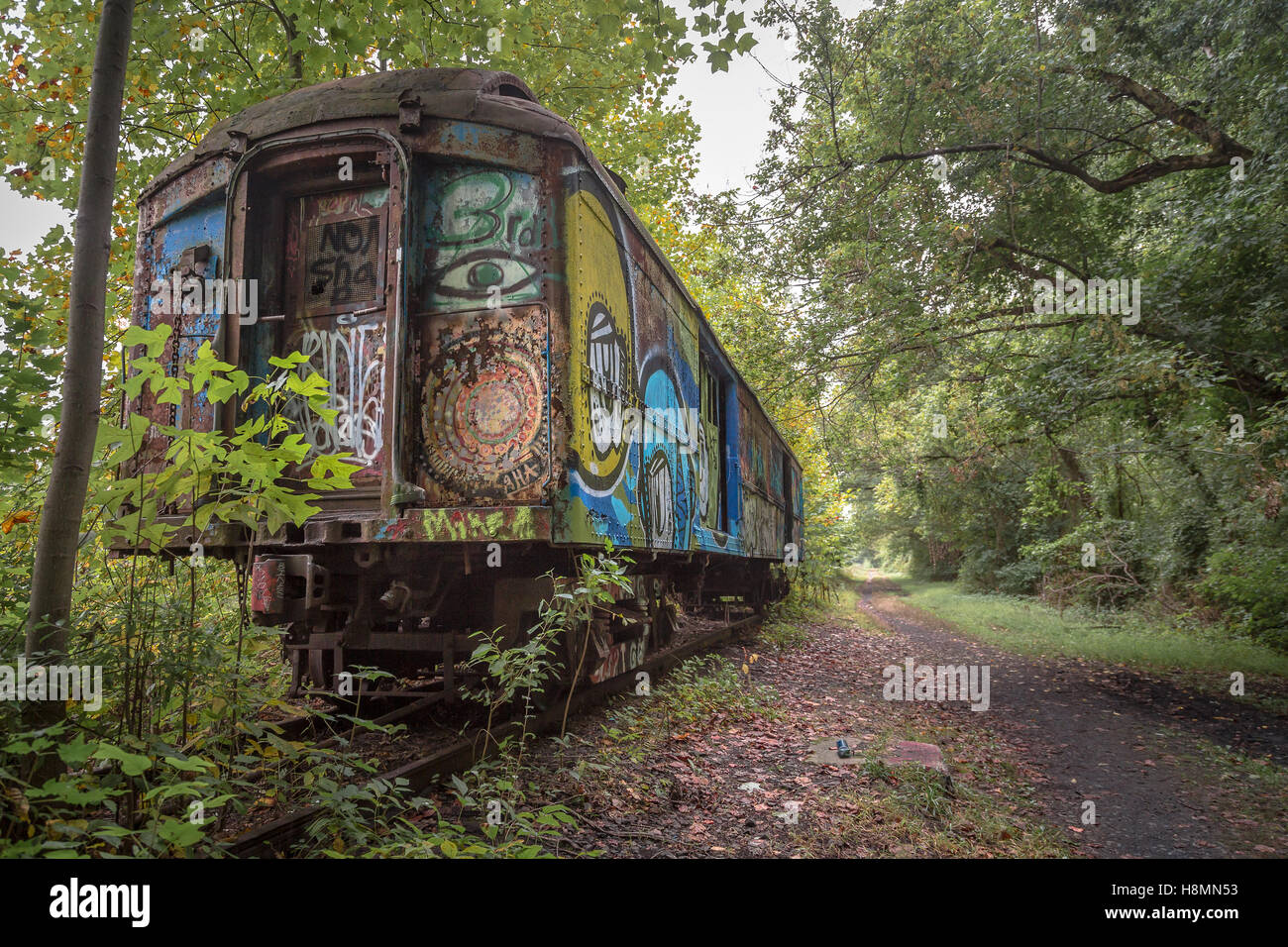 Old Abandoned Train Car Along The Canal In Lambertville