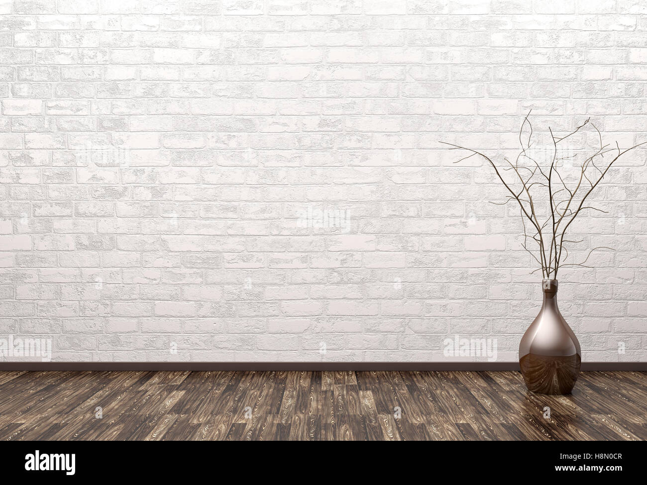 empty interior of room with vase over brick wall background 3d rendering