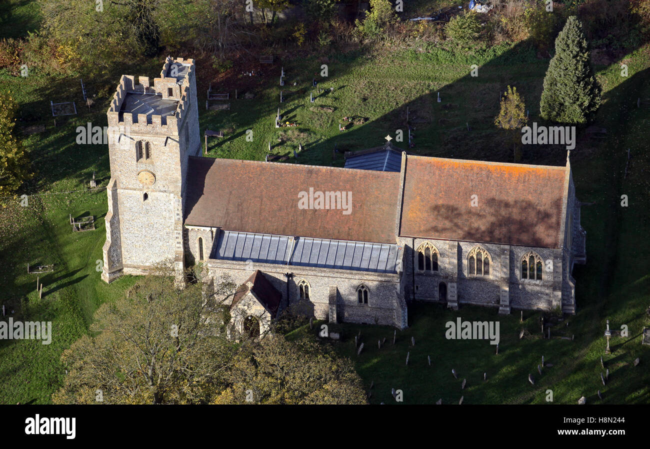 aerial view of St Leonards Church Watlington Oxfordshire UK