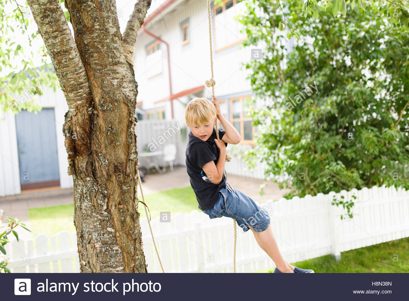Girl (6 7) Climbing Rope In Backyard