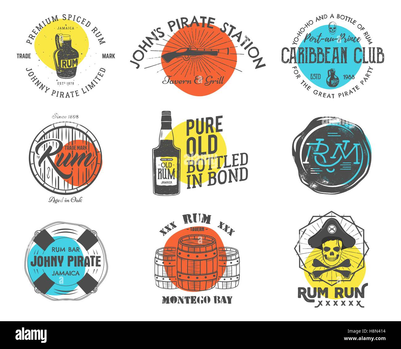 Set Of Vintage Handcrafted Emblems Labels Logos Isolated On A Color Shapes