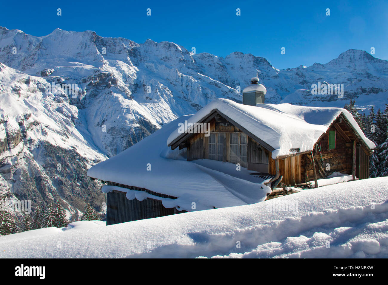Small snow covered cottage in the mountains of the for Cottage in the mountains