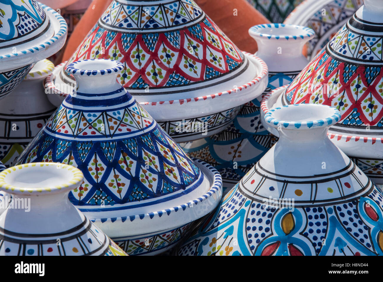 Ceramic Pots For Sale Part - 34: Moroccan Couscous Pots On Sale At A Stall Near The Beach, Erice, Sicily,
