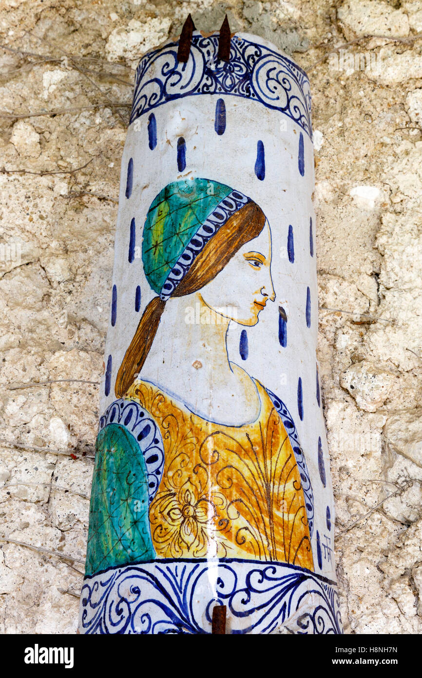 decorative ceramic tiles on the old monastery walls of the hotel