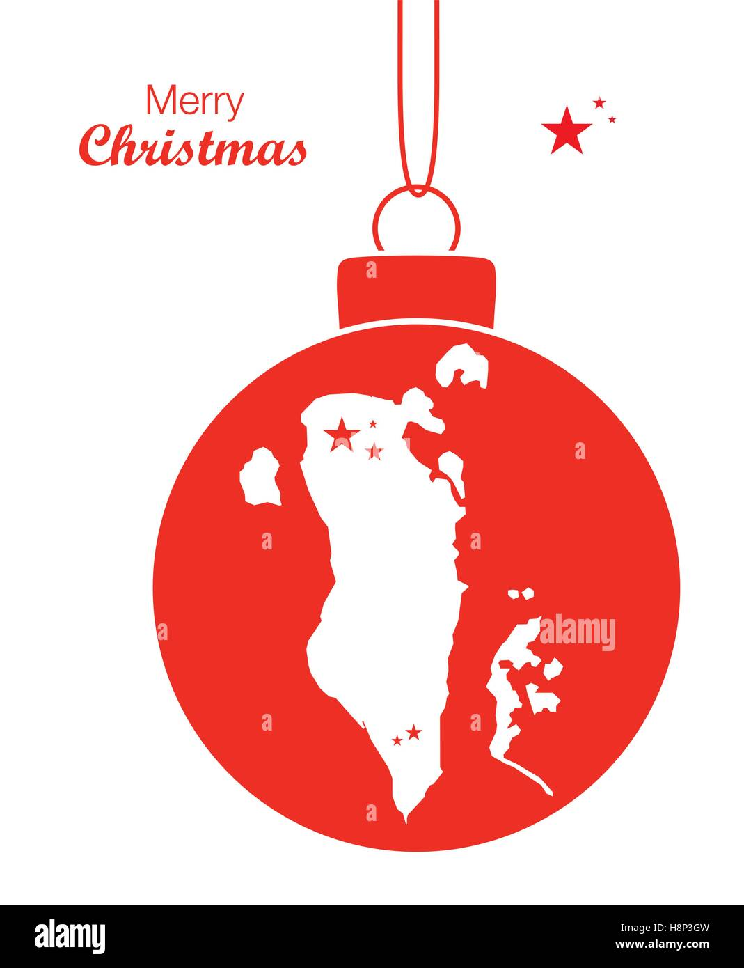 Merry Christmas Illustration Theme With Map Of Bahrain Stock - Bahrain map vector