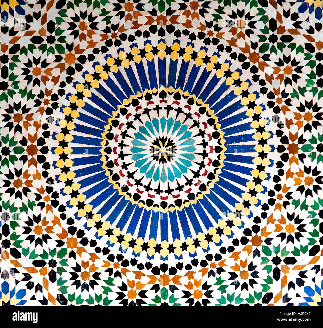 Mosaic, Kasbah Telouet, Morocco: the colorful geometric patterns of an  Islamic mosaic decorate