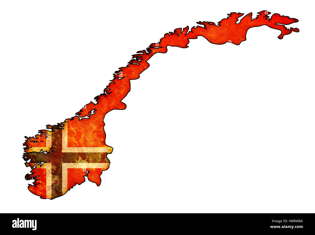 Old Map Of Norway With Flag On Country Territory Stock Photo - Norway map and flag