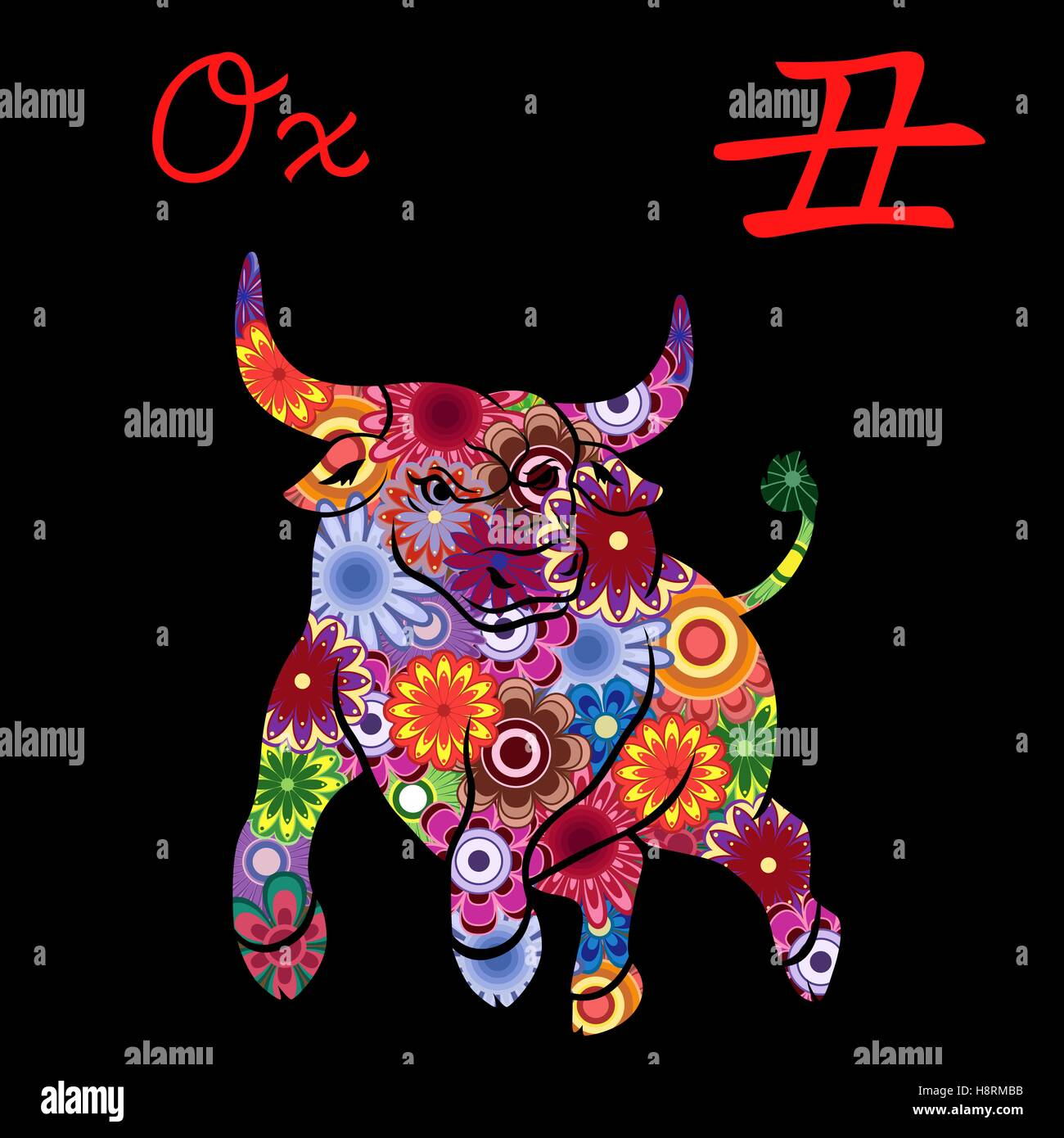 Chinese zodiac sign ox fixed element earth symbol of new year on chinese zodiac sign ox fixed element earth symbol of new year on the eastern calendar hand drawn vector stencil with colorful buycottarizona Images