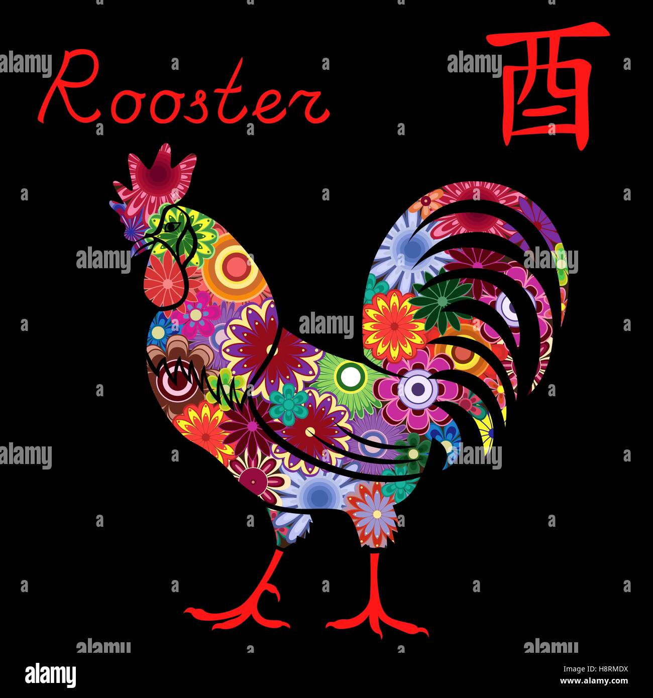Chinese zodiac sign rooster fixed element metal symbol of new chinese zodiac sign rooster fixed element metal symbol of new year on the eastern calendar hand drawn vector stencil with col buycottarizona Images
