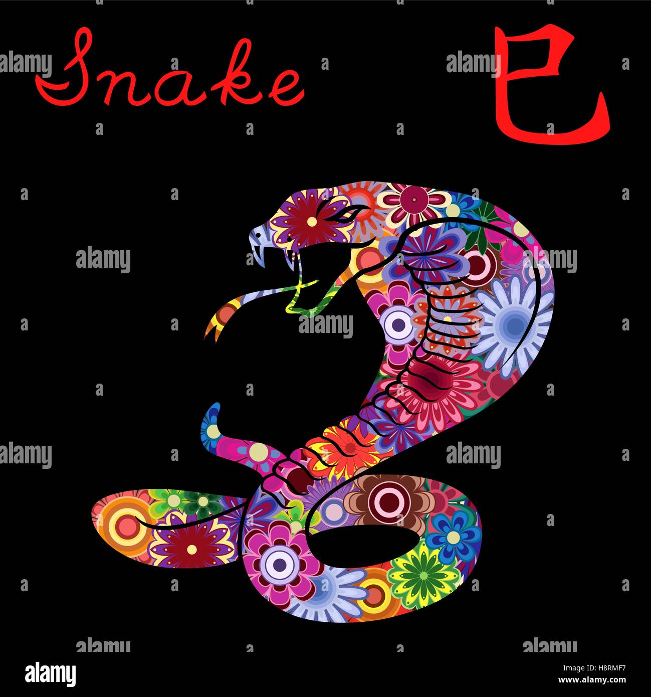 Chinese zodiac sign snake fixed element fire symbol of new year chinese zodiac sign snake fixed element fire symbol of new year on the eastern calendar hand drawn vector stencil with colorf buycottarizona Images