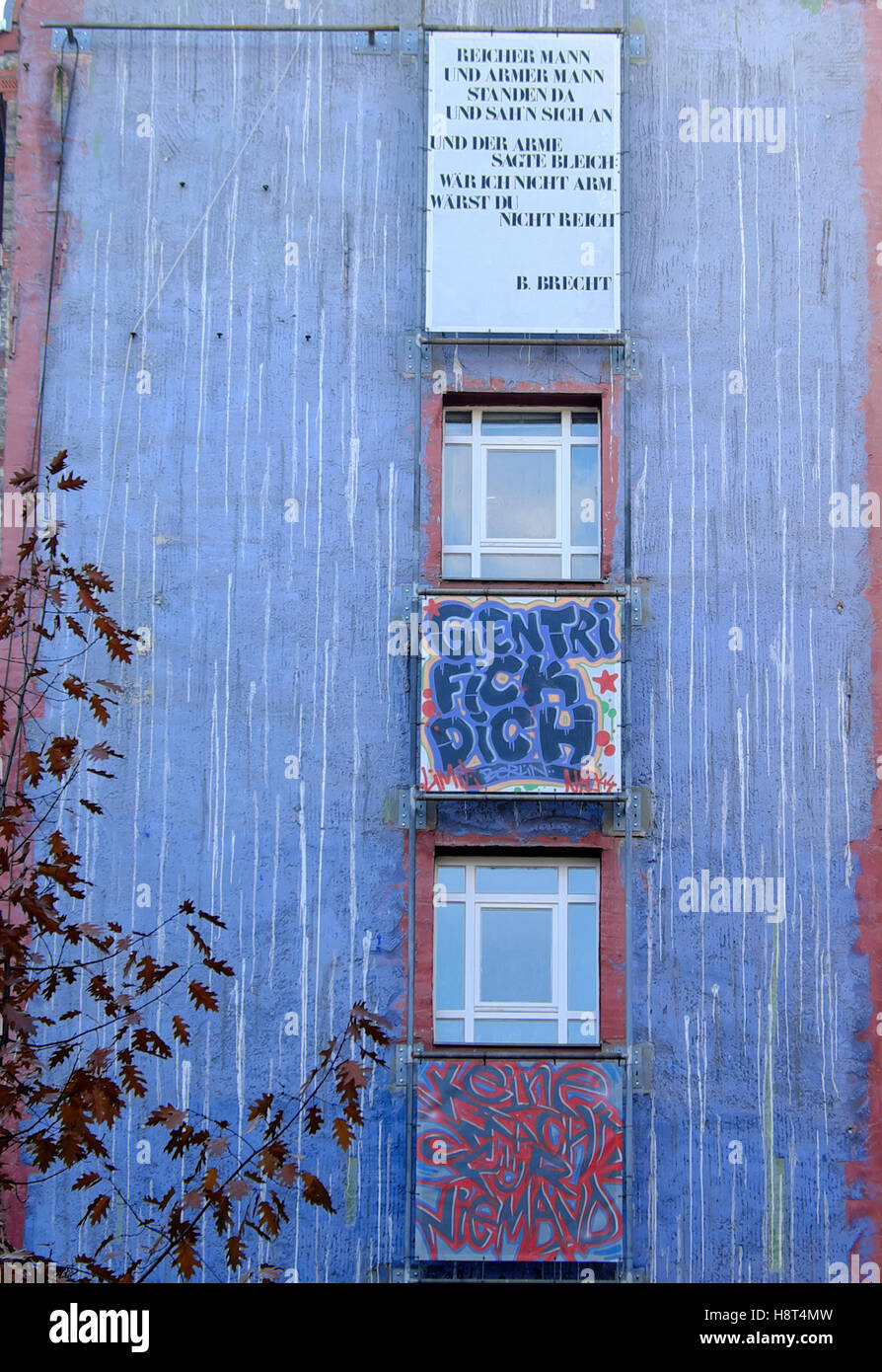 Blue house with gentrifickdich gentrification artwork in berlin germany eu 2016 kathy dewitt