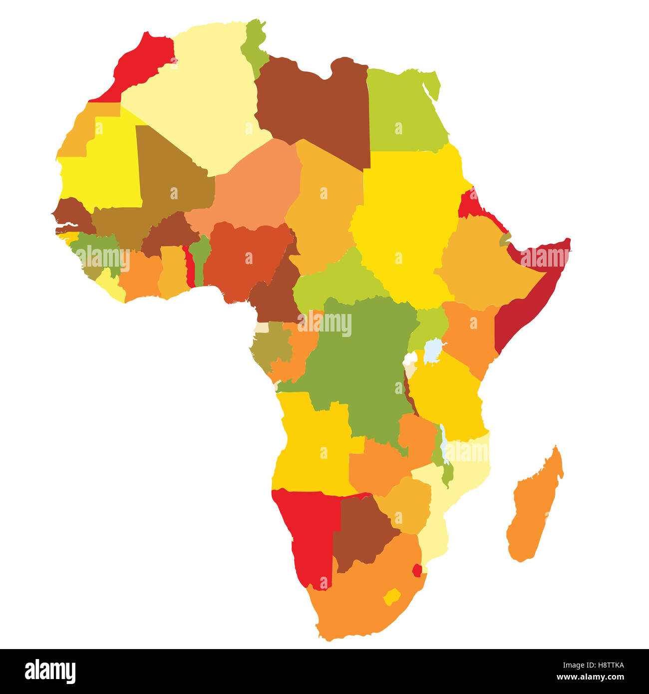 political map of africa with country territories in different