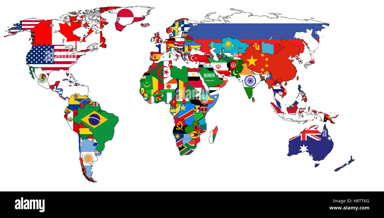 Old political map of world with country flags stock photo royalty old political map of world with country flags gumiabroncs Choice Image