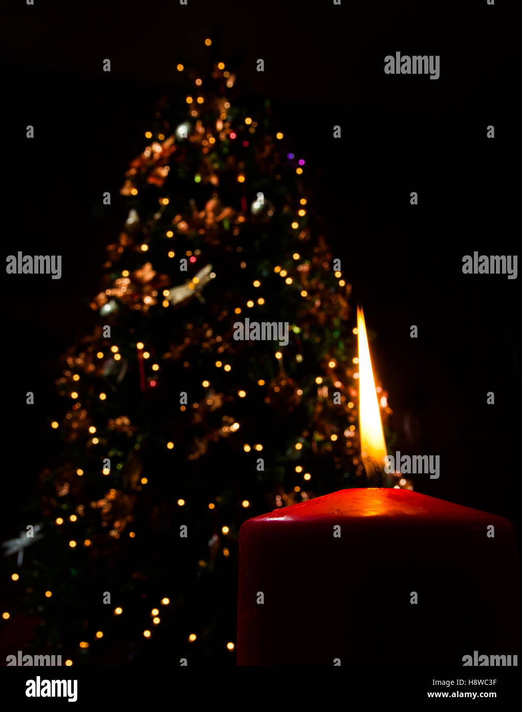 single candle burning in the dark with a christmas tree behind