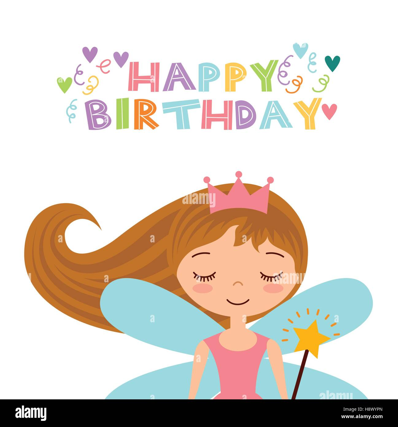 happy birthday card with cute fairy girl icon over white