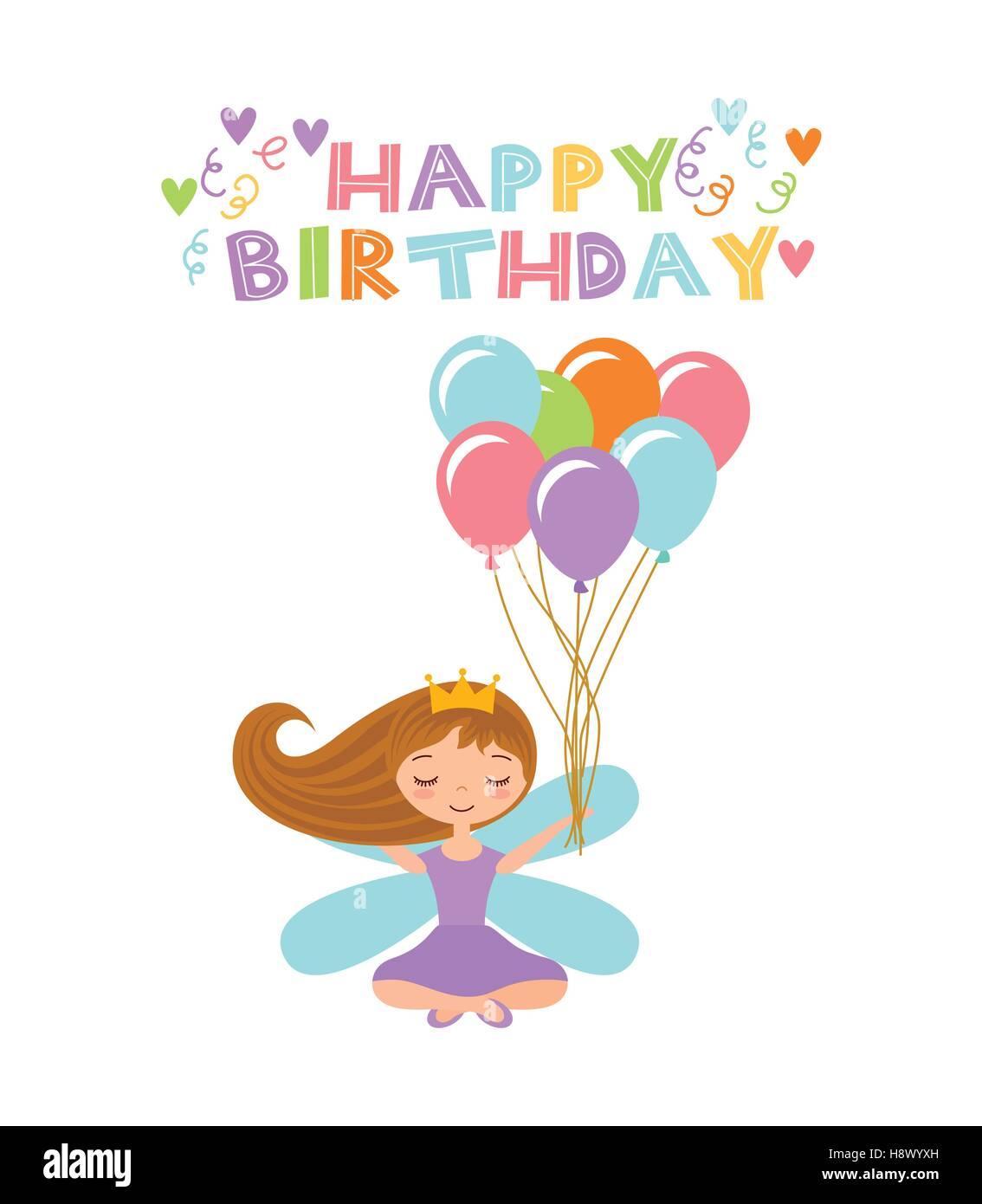 Happy Birthday Girl Illustration ~ Happy birthday card with cute fairy girl balloons icon over stock vector art illustration